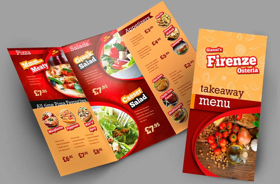 Take Away Menu Cards printing India